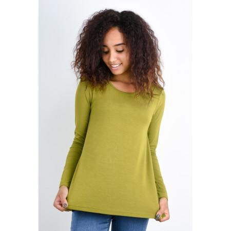 BY BASICS Heidi A-Shape Round Neck Bamboo Jersey Top - Green