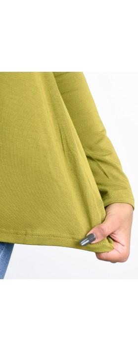 BY BASICS Heidi A-Shape Round Neck Bamboo Jersey Top Avocado 75