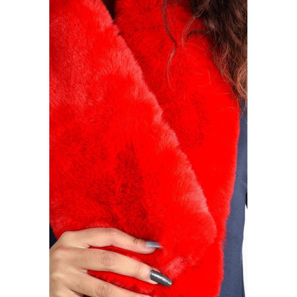 Gemini Label Accessories Nadia Supersoft Faux Fur Scarf Red