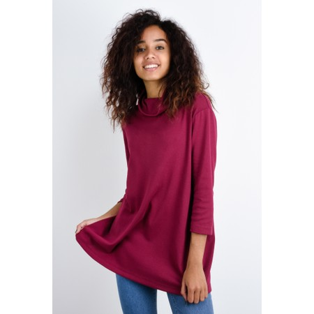 BY BASICS Clara Easyfit Organic Cotton Roll Neck Top - Red