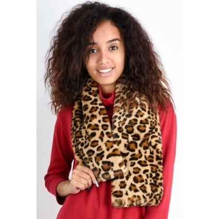 Gemini Label  Simba Leopard Print Faux Fur Scarf - Brown