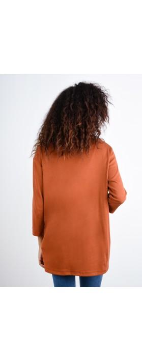 BY BASICS Clara Easyfit Organic Cotton Roll Neck Top Rust 133