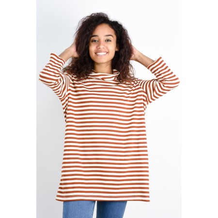 BY BASICS Clara Easyfit Organic Cotton Roll Neck Top - Orange