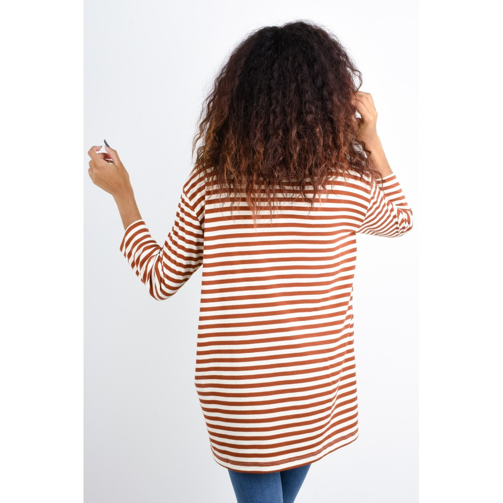 BY BASICS Clara Easyfit Organic Cotton Roll Neck Top Off White/Rust 0/133
