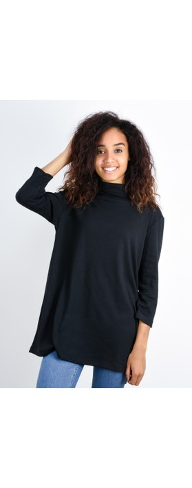 BY BASICS Clara Easyfit Organic Cotton Roll Neck Top Black 878