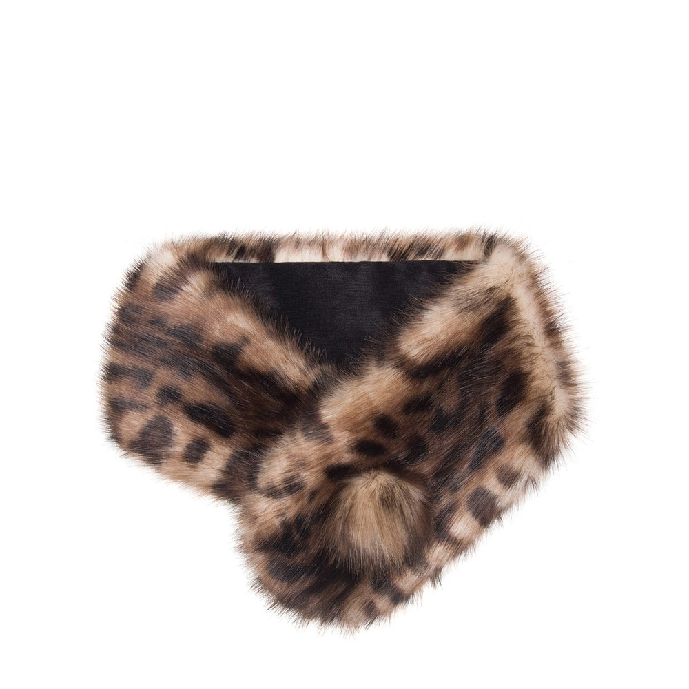 Helen Moore Pom Button Faux Fur Collar Ocelot