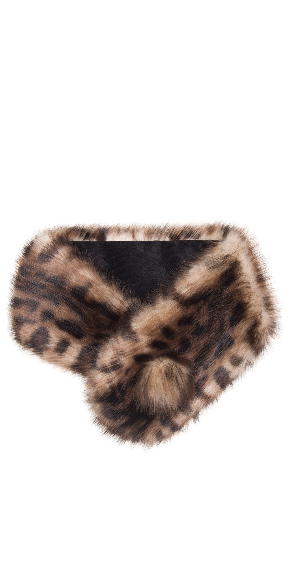 Pom Button Faux Fur Collar main image