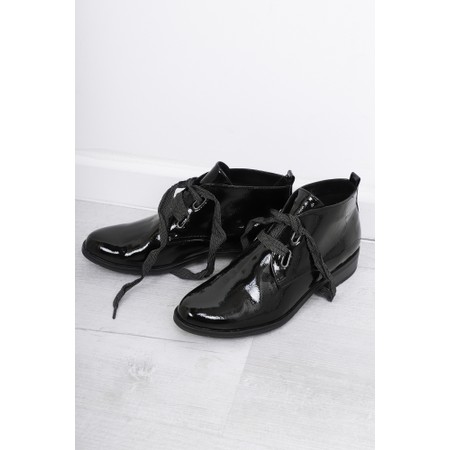 Marco Tozzi Rapalli Patent Ribbon Lace Up - Black