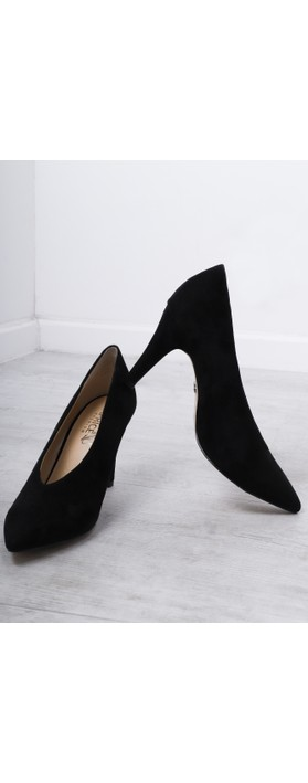 Caprice Footwear Effie Suede Court Shoe  Black