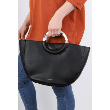 Inyati Georgia Faux Leather Half Moon Tote Bag - Black