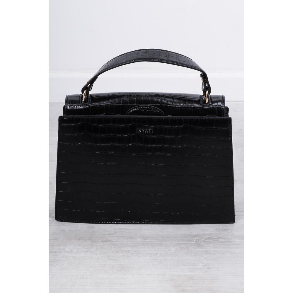 Inyati Olivia Croco Top Handle Bag Black Croco