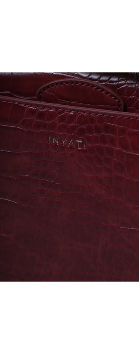 Inyati Olivia Croco Top Handle Bag Burgundy Croco