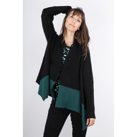Sandwich Clothing  Block Colour Asymmetric Hem Cardigan - Black
