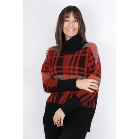 Lauren Vidal Fly Check Print Roll Neck Jumper - Red