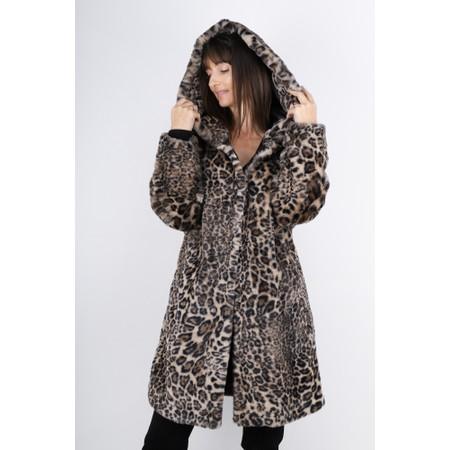 Lauren Vidal Kim Hooded Leopard Print Faux Fur Coat - Beige