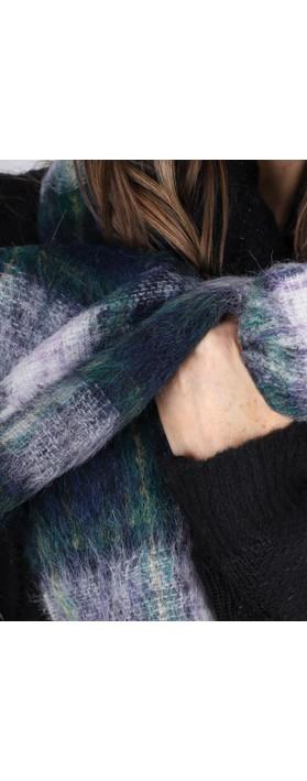 BeckSondergaard Ingva Check Wool Scarf Green