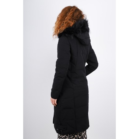 RINO AND PELLE Tamma Longline Puffa Faux Fur Collar Coat  - Black