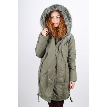 RINO AND PELLE Alena Faux Fur Trim Hooded Parka - Green
