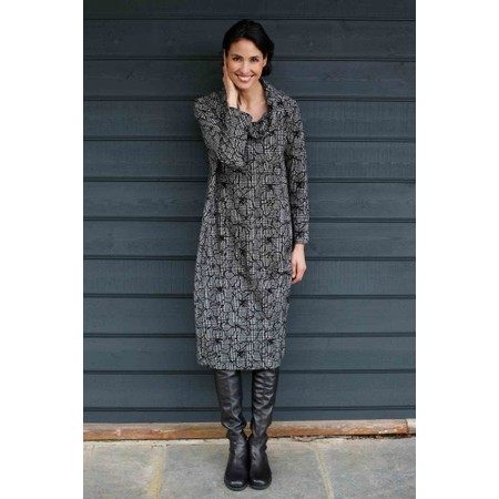 Sahara Linear Floral Check Jersey Dress - Beige