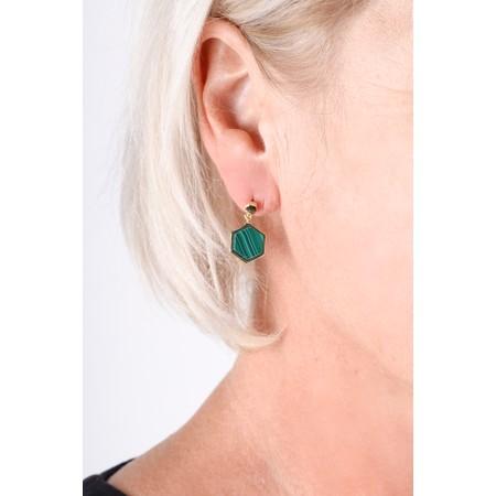Bill Skinner Hexagon Stud Earrings - Green