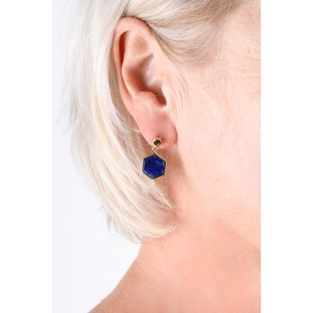Bill Skinner Hexagon Stud Earrings - Blue