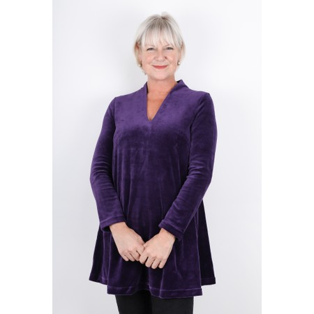 Sahara Velvet Jersey V Neck Tunic - Purple