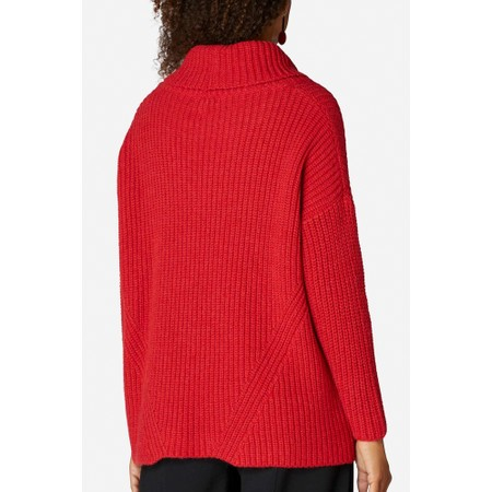 Sahara Ribbed Roll Neck Sweater - Red