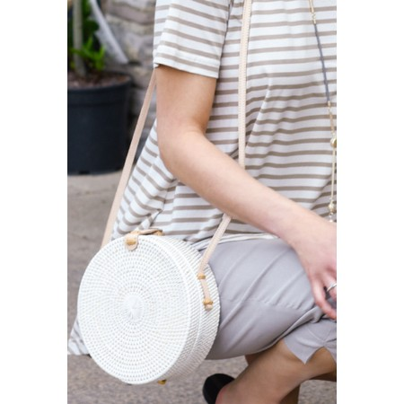 Betsy & Floss Santorini Round Basket Bag - White
