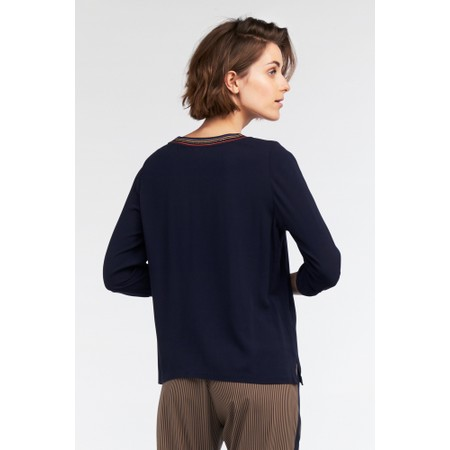 Sandwich Clothing Block Colour Stripe Trim Blouse - Blue