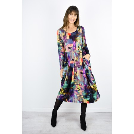 Sahara Brushstroke Print Bubble Dress - Multicoloured