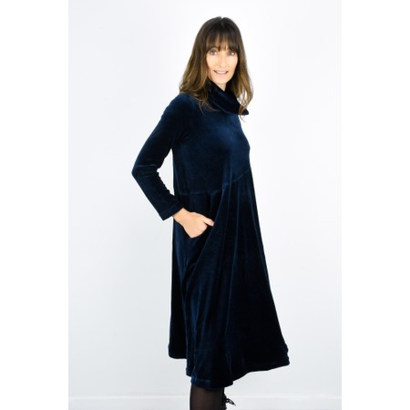 Sahara Velvet Jersey Cowl Neck Dress - Blue