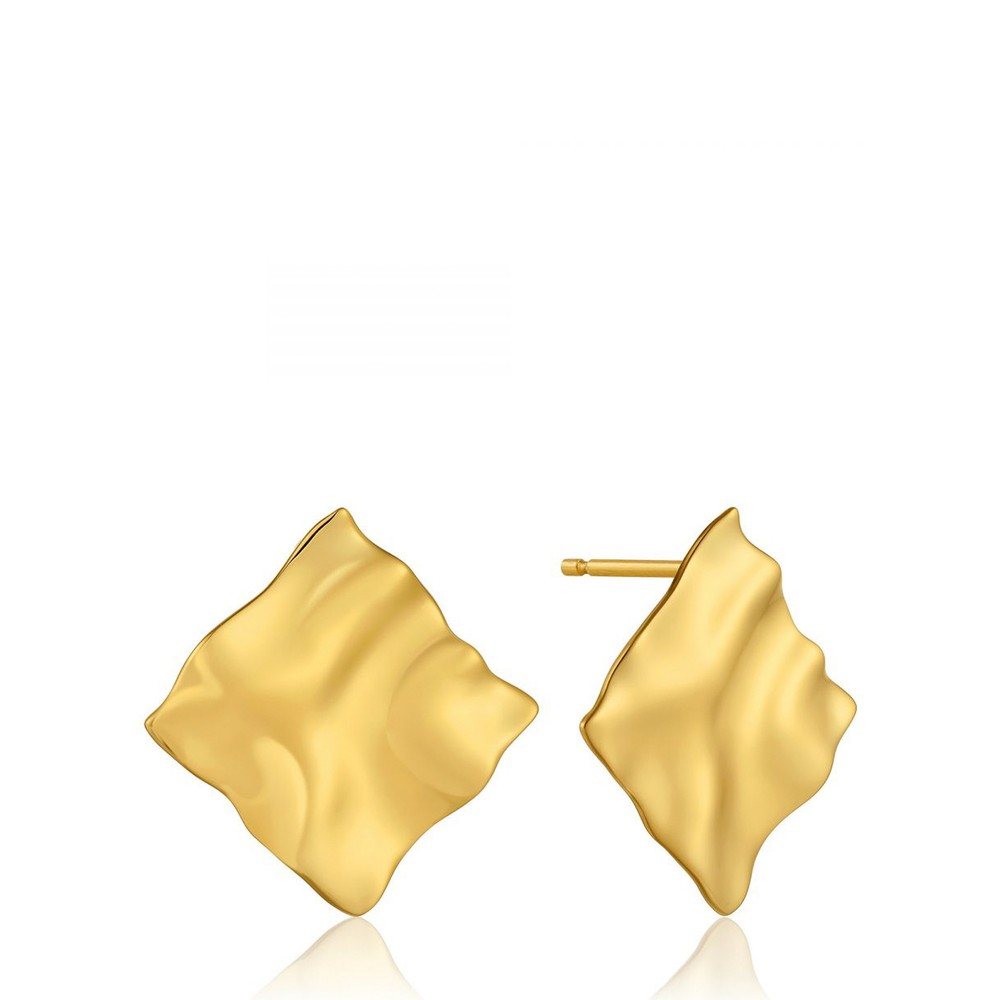Ania Haie Crush Square Stud Earrings Gold