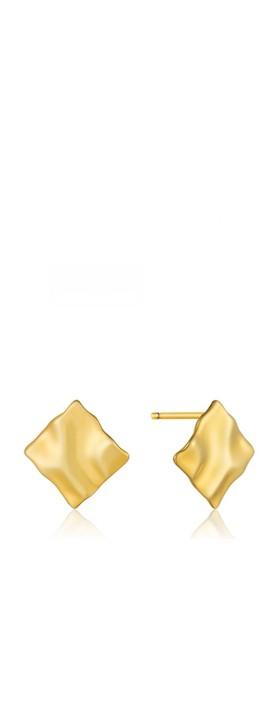 Ania Haie Crush Mini Square Stud Earrings Gold