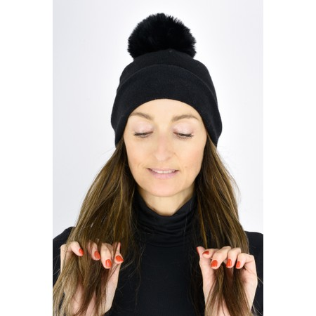 Gemini Label  Ripley Faux Fur Pom Beanie Hat - Black