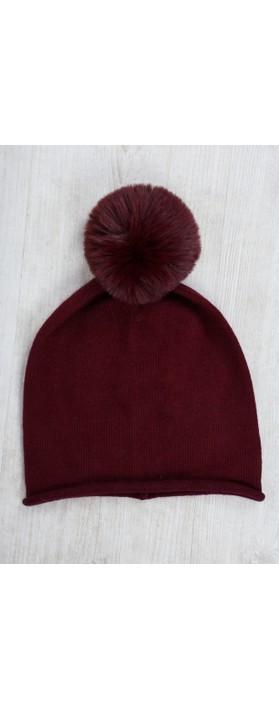 Gemini Label  Ripley Faux Fur Pom Beanie Hat Bordeaux