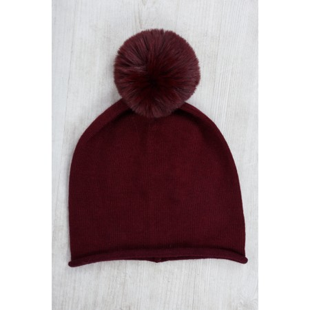 Gemini Label  Ripley Faux Fur Pom Beanie Hat - Purple