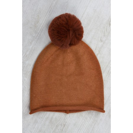 Gemini Label  Ripley Faux Fur Pom Beanie Hat - Brown