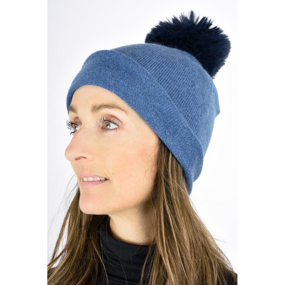 Gemini Label  Ripley Faux Fur Pom Beanie Hat Denim Blue