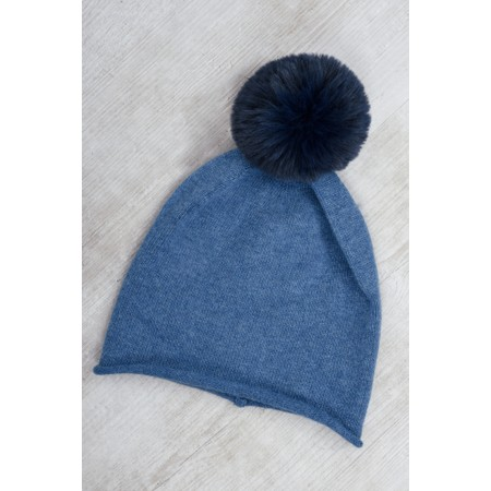 Gemini Label  Ripley Faux Fur Pom Beanie Hat - Blue