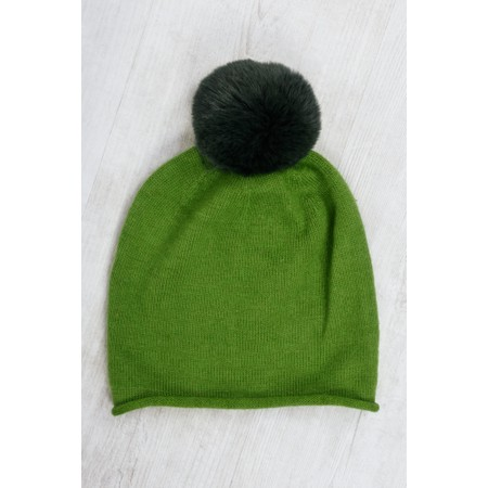 Gemini Label  Ripley Faux Fur Pom Beanie Hat - Green