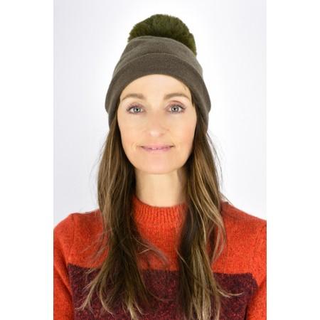 Gemini Label  Ripley Faux Fur Pom Beanie Hat - Beige