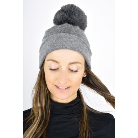 Gemini Label  Ripley Faux Fur Pom Beanie Hat - Grey