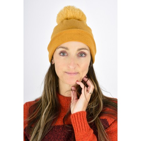 Gemini Label  Ripley Faux Fur Pom Beanie Hat - Yellow