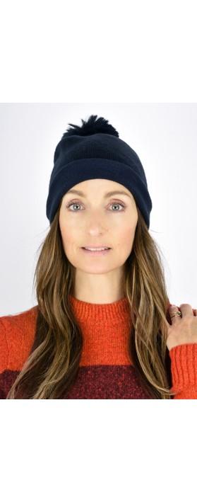 Gemini Label  Ripley Faux Fur Pom Beanie Hat Navy