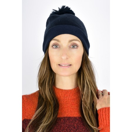 Gemini Label  Ripley Faux Fur Pom Beanie Hat - Blue
