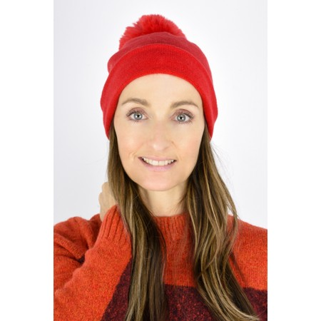 Gemini Label  Ripley Faux Fur Pom Beanie Hat - Red