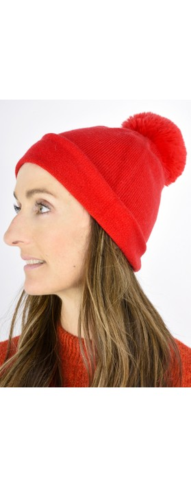 Gemini Label  Ripley Faux Fur Pom Beanie Hat Red