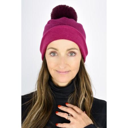 Gemini Label  Ripley Faux Fur Pom Beanie Hat - Pink