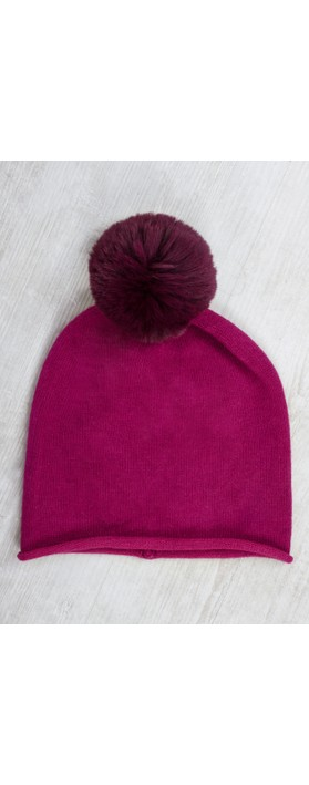 Gemini Label  Ripley Faux Fur Pom Beanie Hat Winter Fushia