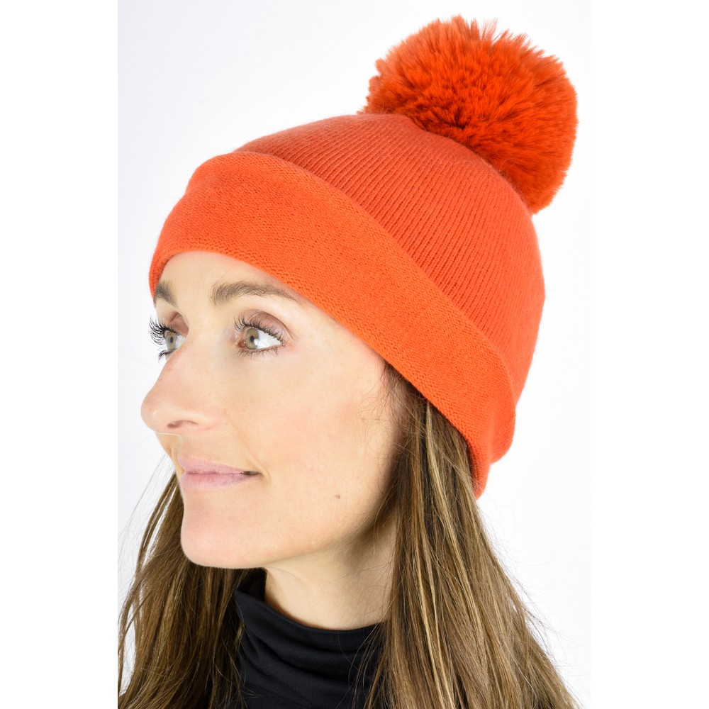 Gemini Label  Ripley Faux Fur Pom Beanie Hat Winter Orange